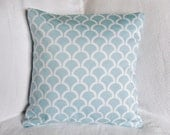 30% OFF!! Aqua and White Shell Lattice Graphic Pillow Cover 18x18