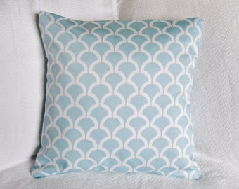 CLEARANCE!! Aqua and White Shell Lattice Graphic Pillow Cover 18x18