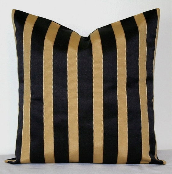 Items similar to LUMBAR Black and Gold Striped, 12 x 18 inch Decorative Pillow, Accent Pillow ...