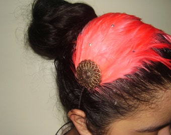 AMI - Coral Feather Headband or Fascinator Hair Clip With A Vintage Gold Motif And Swarovski Crystals, Bridesmaids Set