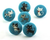 Pushpin / Cute Kitty/ Thumbtacks  Magnet / Fabric Covered Button Cat Blue Japanese Fabric 36