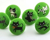 Pushpin / Cute Kitty / Thumbtacks / Magnet / Fabric Covered Button /  Cat / Green Blue Pink Japanese Fabric / Animal  / Kawaii  36