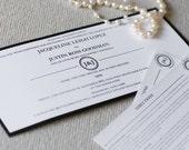 Modern wedding invitation, black and white invitation, pocketfold invitation, black and white wedding, custom colors, custom sample