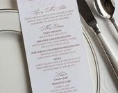 Wedding reception menu, tealength menu, rectangle menu, dinner menu, Custom Sample, Classic style menu