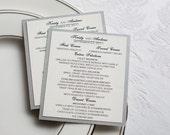 Wedding reception menu, mini menu, rectangle menu, dinner menu, Custom Sample, Classic style menu