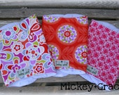 Tangerine, Lavander and Pink Baby Girl Burp Cloths/ White Minky/ Baby Girl Shower Gift
