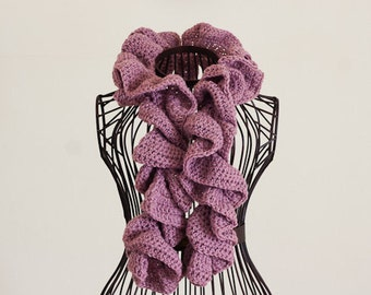 CROCHET PATTERN instant download - Rose Ruffle Scarf - lilac pink curly twisted beautiful neck warmer for beginner PDF