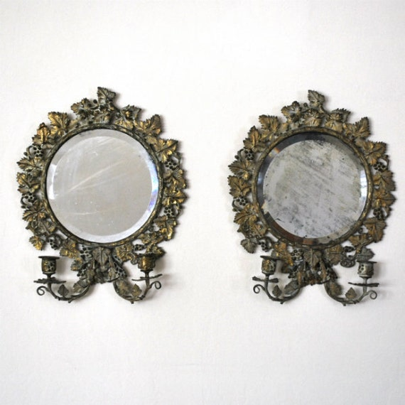 Vintage Beveled Mirror Candle Sconce Pair By