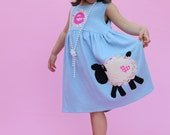 Toddler Easter Dress - Personalized Dress with Lamb Applique- You Choose Dress Color and Sleeve Length