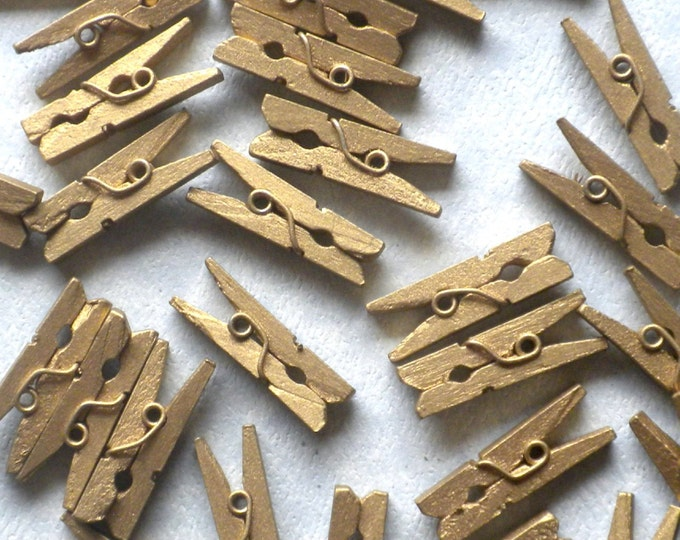 """Gold Mini Clothespins - 100 - 1"""" or 2.5 cm - Wooden - Great for Wedding Favors Scrapbooking and Decorations"""