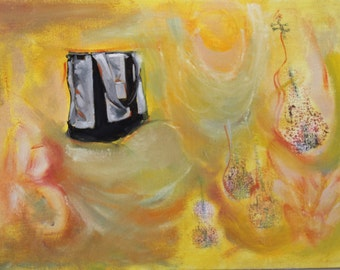 Original Oil Painting - Violins and Tote Bag Abstract Yellow Swirls