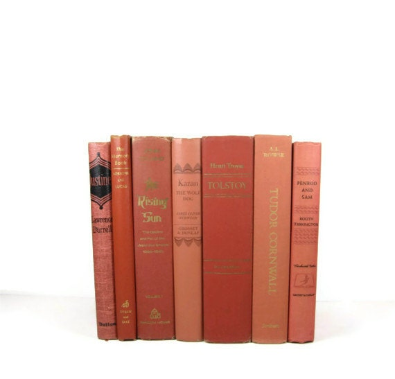 Salmon Brick Decorative Books, Vintage Photo Props, Vintage Wedding Decor