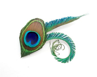 Handsome - Peacock hair clip / Feather Fascinator / Bridesmaid Headpiece