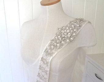 "SALE- Crystal encrusted bridal sash, 3"" wide bridal belt, jeweled wedding belt, Austrian crystal sash - Diana Delude iii"