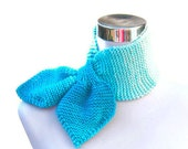 FREE SHIPPING - Scarflette knit scarf neckwarmer necktie turquoise ombre bow ascot retro 50s style keyhole scarf in turquoise blend