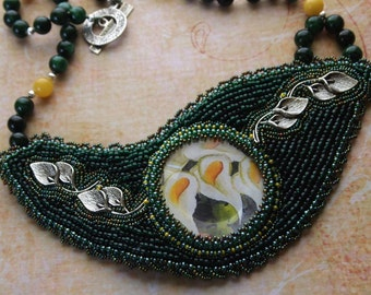 Beaded Embroidery Necklace Peace Lily