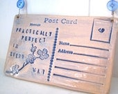 Practically Perfect - Ceramic postcard with vintage buttons. Mary Poppins. Mothers Day. Made in Wales, UK.  Ready to Ship.