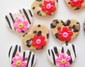 Button Animal Print Hearts handmade polymer clay buttons ( 5 )