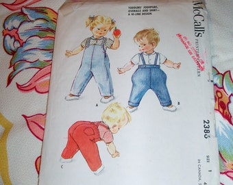 "Vintage 1960 McCalls Pattern 2386 for Toddlers Jodhpurs, Overalls and Shirt, Size 1, Breast 20"", Waist 19 1/2"""
