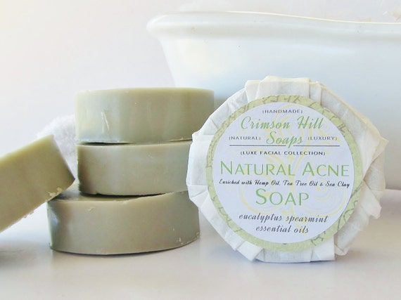 NATURAL ACNE SOAP - with Tea Tree Oil & Clay, acne cleanser, face wash, skin care, vegan, glycerin, handmade, gift wrapped