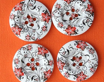 6 Large Wood Buttons Retro Floral Design 30mm - BUT177