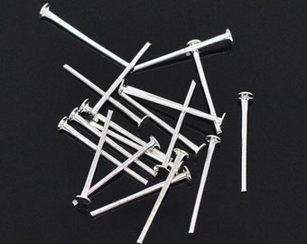 1000 Head Pins 1.6cm Silver Plated - PIN19