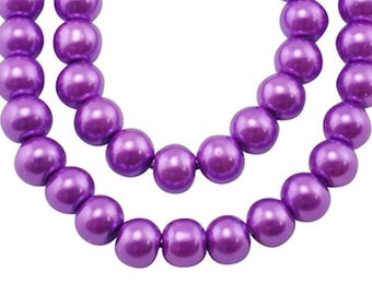 20 Plum Glass Beads 8mm - BD054