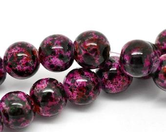 20 Cranberry Mottled Glass Beads 8mm BD225
