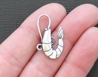 5 Shrimp Charms Antique  Silver Tone - SC2297