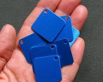 "10 Aluminum Stamping Tags Anodized Aluminum Blue 1"" Squares - MT034"