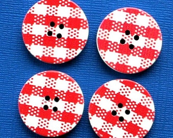 6 Large Wood Buttons Gingham Red Design 30mm BUT217