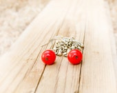 Autumn fashion Red berries dangle earrings Red drop earrings, beaded chandelier earrings nature inspired jewelry.