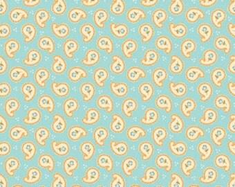 Paisley Fabric, Fabric by the Yard, Riley Blake Designs, Paisley in Aqua, Stitch Studios, Calliope