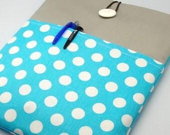KI iPad Air case, iPad cover, iPad sleeve/ Samsung Galaxy Tab 3 10.1with 2 pockets, PADDED - Polka Dots on Blue