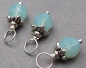 Swarovski Crystal Charm, Pacific Opal Swarovski Crystals,  Wire Wrapped Bead Dangles, Stitch Markers, Birthstone Charm with  Bead Caps