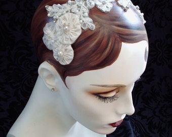 Anna, Ivory Lace Bridal Headpiece, Weddings, Wedding Headpiece, Bridal Hair Accessories,  Lace Fascinator