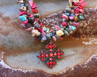 Kerosene Red Hot Multi Colored Turquoise Gemstone Cowgirl Bling Cross Bracelet