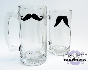 Moustache Beer Mugs - Variety of Colors and Styles (set of 2)