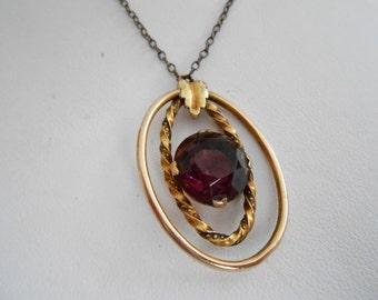 Vintage pendant, Art Nouveau era amethyst gold plated pendant and chain, 1930s pendant, antique jewelry