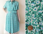 Vintage Teal Flower Leslie Fay Dress Size 14