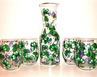 Shamrocks or 4 Leaf Clover Hand Painted Wine Carafe and Stemless Wine Glasses 5 Piece Collection Purple Swirls  or Green Swirls Pattern