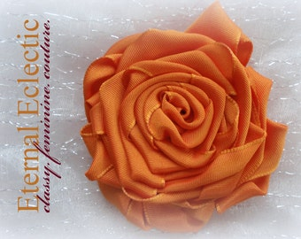 Rose Brooch or Hair Accessory in Tangerine Grosgrain