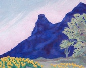 Poppies at Picacho Peak, dramatic landscape with pink , yellow, violet desert colors