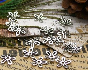 50 pcs of Antique Silver metal hollow flower bead cups 11mm,beadcap findings,beads