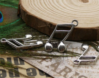 12 pcs of Tibetan silver musical note Pendant 10x22mm