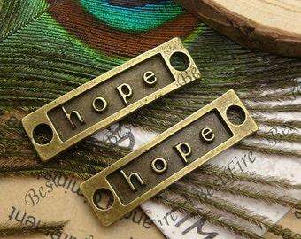 10pcs 10x35mm antique brass hope Connectors Bracelet Connectors Pendant Charms with 2 Rings