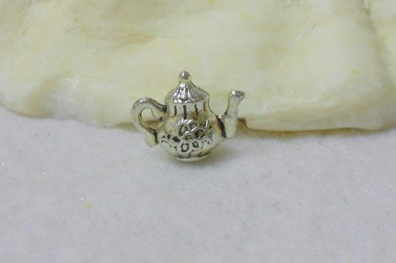 Tiny Silver Teapot Charm (3)