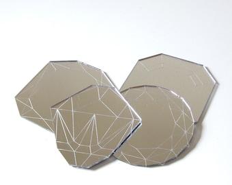 Mirror Jewel Coasters - Laser Cut Acrylic Set of Four Geometric Diamond Gems
