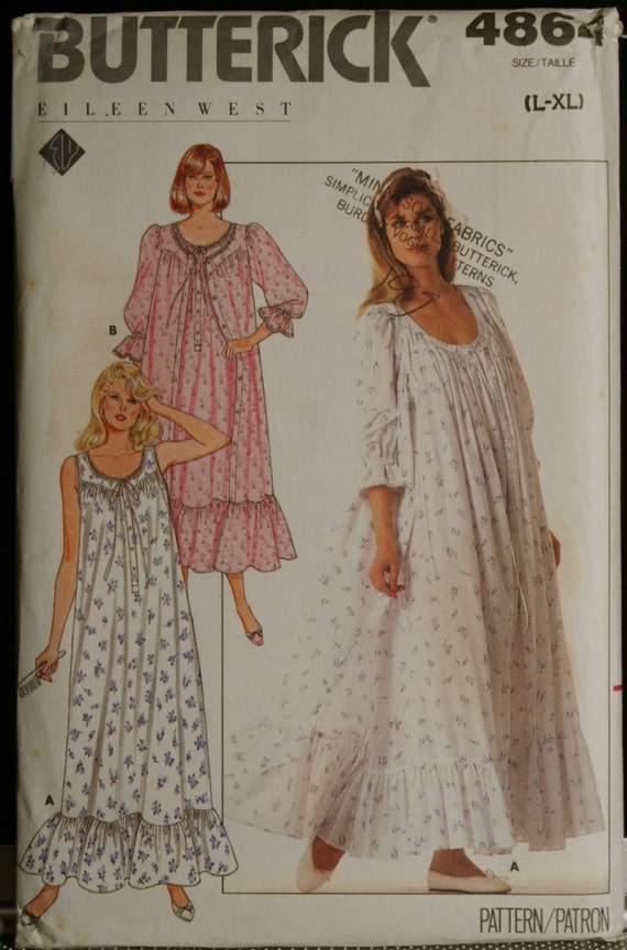 Butterick 4864  Misses Romantic Robe and Nightgown Vintage 80s Sewing Pattern Sz L and XLg