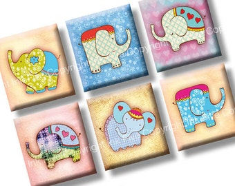 Lucky Elephants scrabble tile images 0.75x0.83 inch squares. Two 4x6'' Collage Sheets. Digital printables. Digital download.